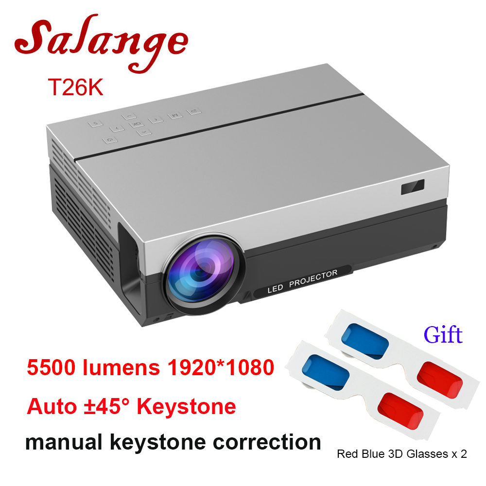 Salange LED Projector Movie T26K 1920x1080 Full-Hd Beamer Native Lumens Home Theater