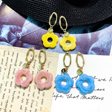 DREJEW Blue Yellow White Pink Flower Statement Dangle Earrings Sets 2019 925 Alloy Drop for Women Fashion Jewelry E5351