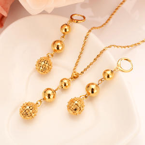 Jewelry-Set Chain Necklace/earring African Beads Nigerian Wedding-Gold Indian Multi-Layer