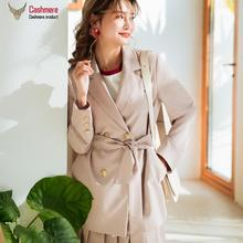 Women #8217 s coat Korean casual suit coat women 2020 spring autumn new mid-length coat women straight double-breasted black coat 7387 cheap OKOUFEN REGULAR Ages 18-35 Years Old Notched Double Breasted Blazers Polyester Full Sashes Solid