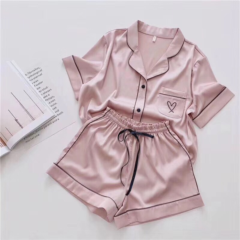 2020 New Pajamas For Women Silk Home Wear Short Sleeve Loungewear Pyjamas Women Pijama Sleepwear Pj Set Satin Nightwear Set