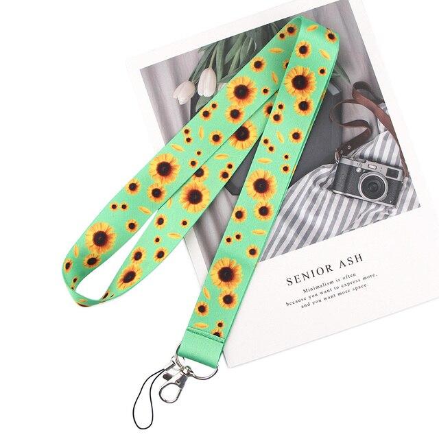 20pcs/lot BH1148 Blinghero Flower Plant Lanyard Key Phone Neck Strap With Keyring ID DIY Cartoon Butterfly Lanyard Hang Rope 2