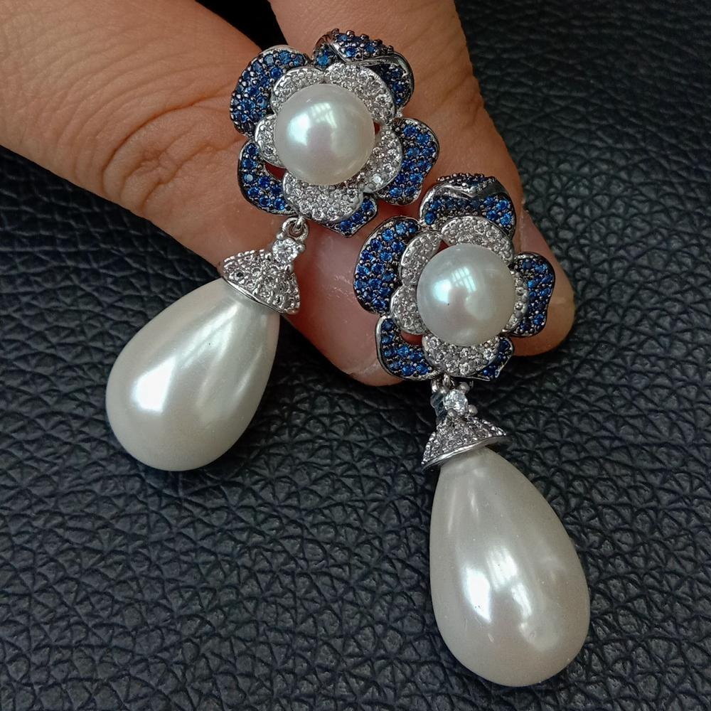 White Teardrop Sea Shell Pearl Blue Cubic Zirconia Pave Flower Stud Earrings Cute Birthday For Women