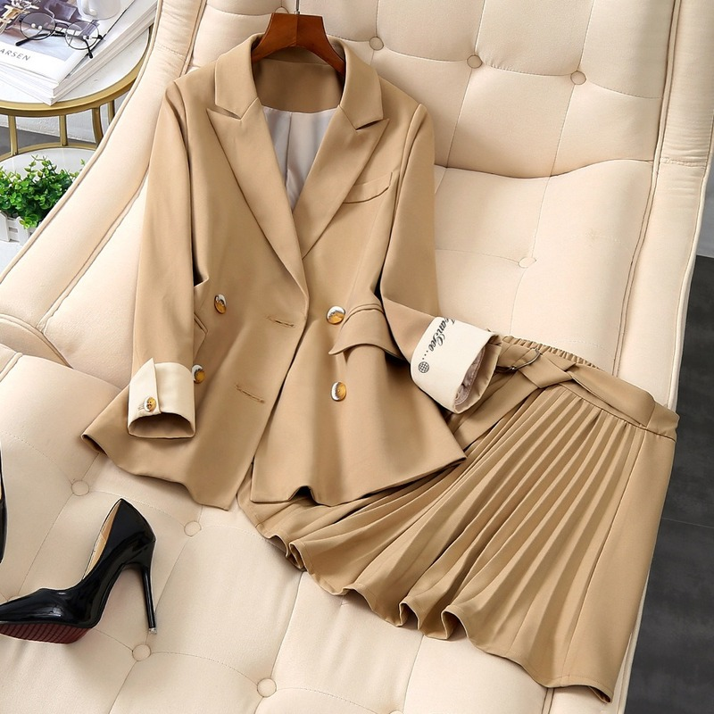 Women's Suits Autumn Winter High-end New Slim Double-breasted Workwear Elastic Waist Temperament Skirt Set Two-piece Wild Women