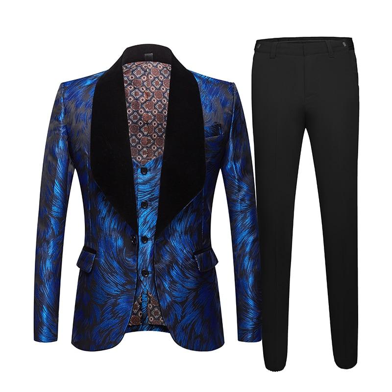 Mens Fashion Big Shawl Lapel 3 Pieces Set Pink Red Blue White Black Wedding Groom Suits Quality Jacquard Banquet Tuxedo