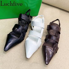 Designer Sandals Dress-Shoes Glossy Heel Gladiatus Black White Casual Brand Kitten Pointy-Toe