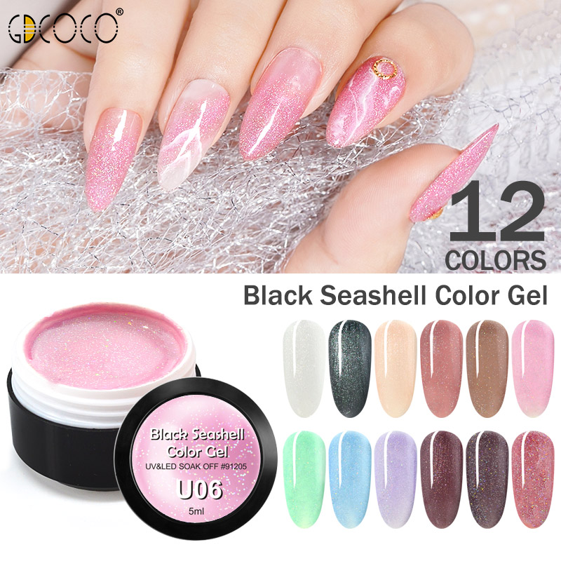 Glitter Seashell Nail Varnish Nail Art Decoration GDCOCO Gel Lacquer Bling Pearl Pigment Color Gel Lacquer Nail Gel Polish