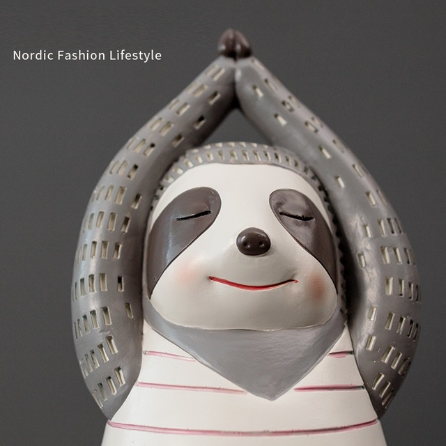 Yoga Sloth Statue Home Decor Chindren Room Ornament Lovely Animal Sculpture Nordic Style Decoration 4