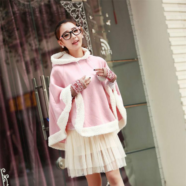 Woherb Japanese Kawaii Cloak Women Autumn Winter Hooded Poncho Cape Coat 2020 Girls Padded Cute Pullover Capes Femme Shawl 23422 5