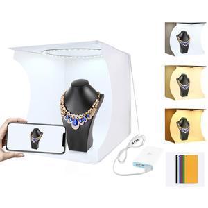 Image 4 - PULUZ 30cm Folding Portable Ring Light Photo Lighting Studio+Ring LED Panel Truntable,Tabletop Shooting Tent Box Kit 6 Backdrops