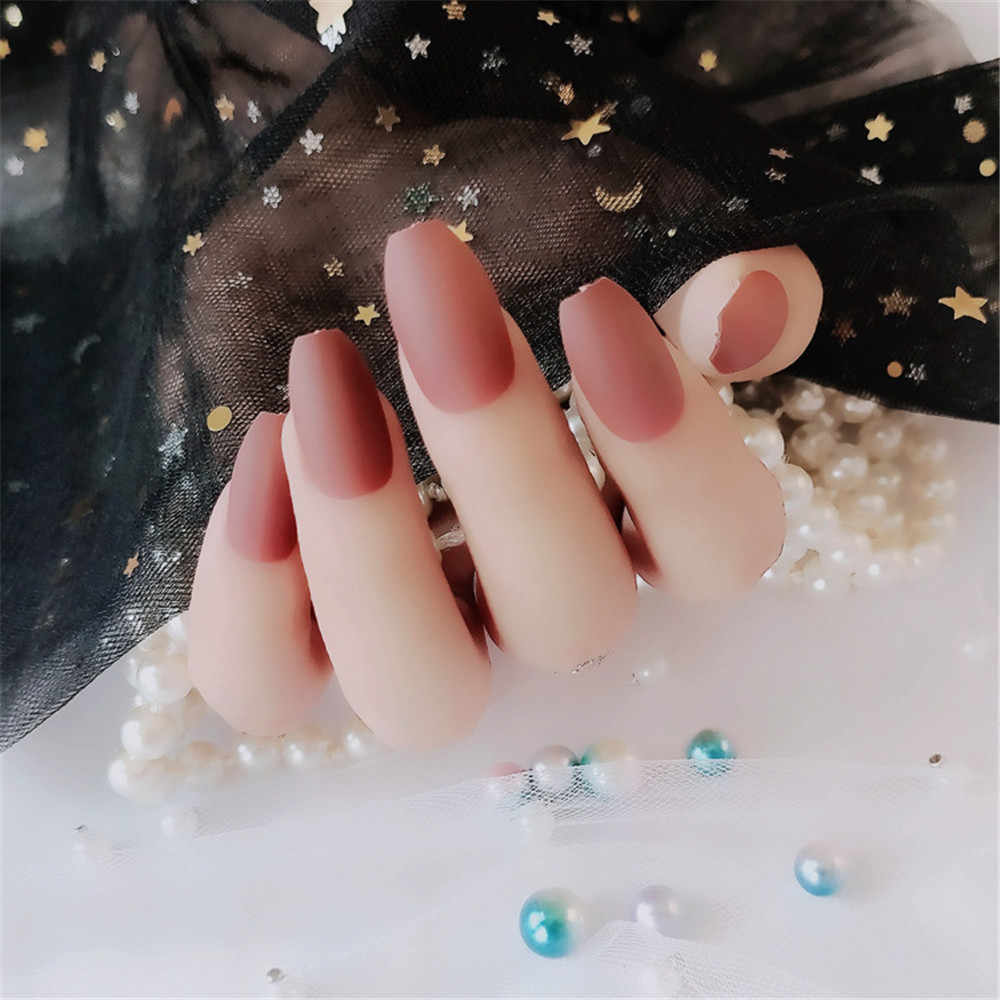S001 24 шт./компл. великолепный крем накладные ногти длинные радужные матовое накладные ногти Мороз художественный дизайн DIY Полный Бесплатная искусственные накладные ногти