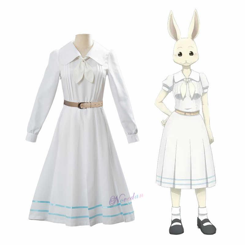Anime Beastars Haru Cosplay Costume Bianco Uniforme Coniglio Animale Cute Kawaii E Parrucca Per Le Donne Ragazze