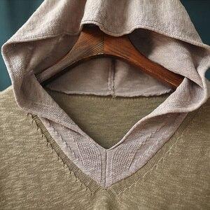 Image 4 - Johnature pull à capuche pour femmes, pull à manches longues, style Patchwork, tricot en coton, vêtement coréen, 7 couleurs, automne 2020