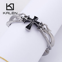 KALEN 21CM Stainless Steel Jesus Cross Charm Bracelets For Men Women Classic Crucifix Christian Prayer Bracelets Jewelry length adjustable strap bracelets for man women watch band style stainless steel net band christian cross prayer male jewelry