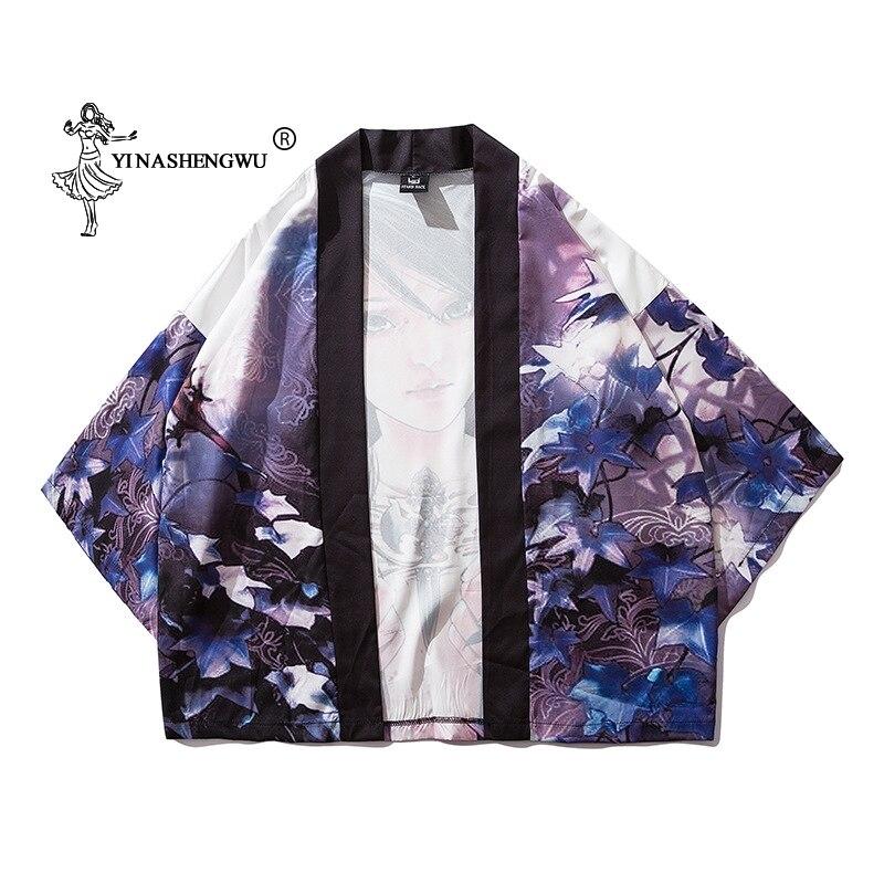 Women Print Yukata Kimonos Japanese Kimono Traditional Cardigan Men Kimono Cosplay Costumes Leisure Shirts Coat Asian Clothes