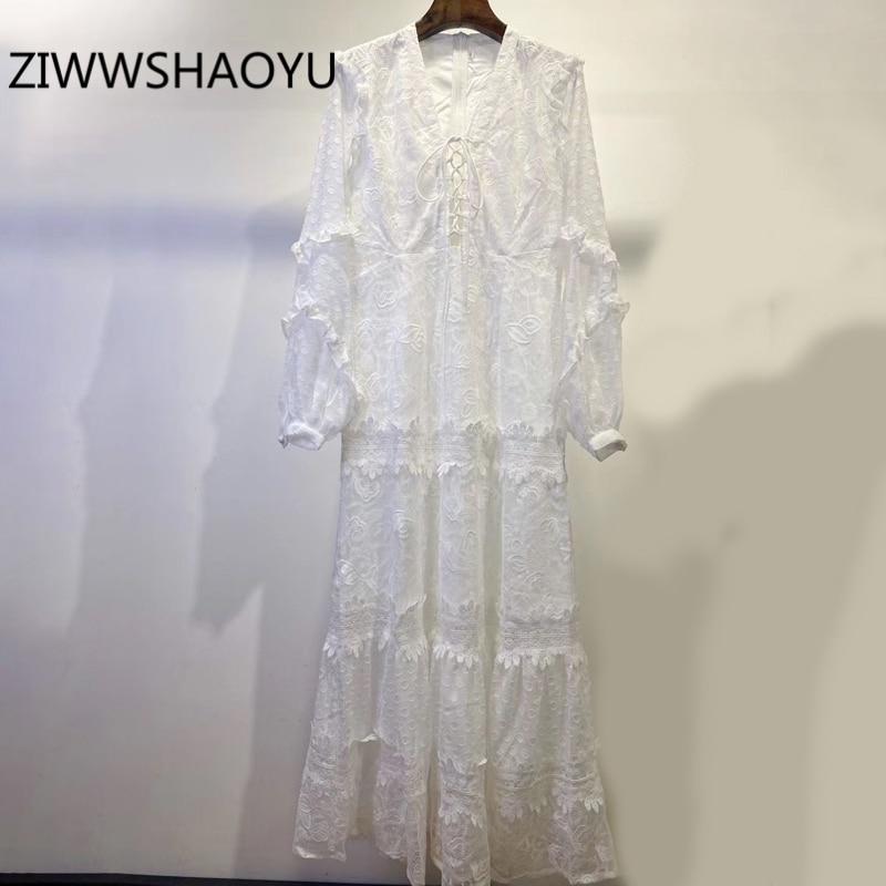 ZIWWSHAOYU женское летнее белое элегантное платье с v образным вырезом, модные вечерние дизайнерские женские платья с вышивкой и оборками на подоле|Платья|   | АлиЭкспресс