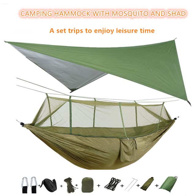 Hamac portatif de Camping avec la moustiquaire et la bâche de mouche de pluie, hamacs en Nylon dauvent de hamac