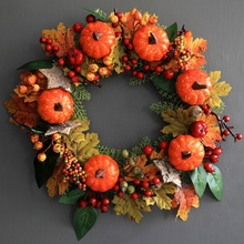 30CM Halloween Decorations Artificial Pumpkin Maple Leaves Wreath Garland Thanksgiving Holiday Autumn Decoration Rattan