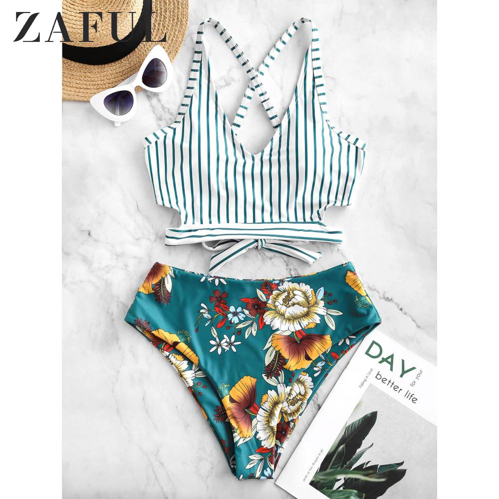 ZAFUL Crisscross Knot Floral Striped Tankini Swimsuit Hit Floral Print Mix Match Crop Top Swimsuit Removable Padded Bikinis Set