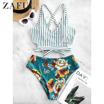 ZAFUL Crisscross Knot Floral Striped Tankini Swimsuit Hit Floral Print Mix Match Crop Top Swimsuit Removable Padded Bikinis Set фото