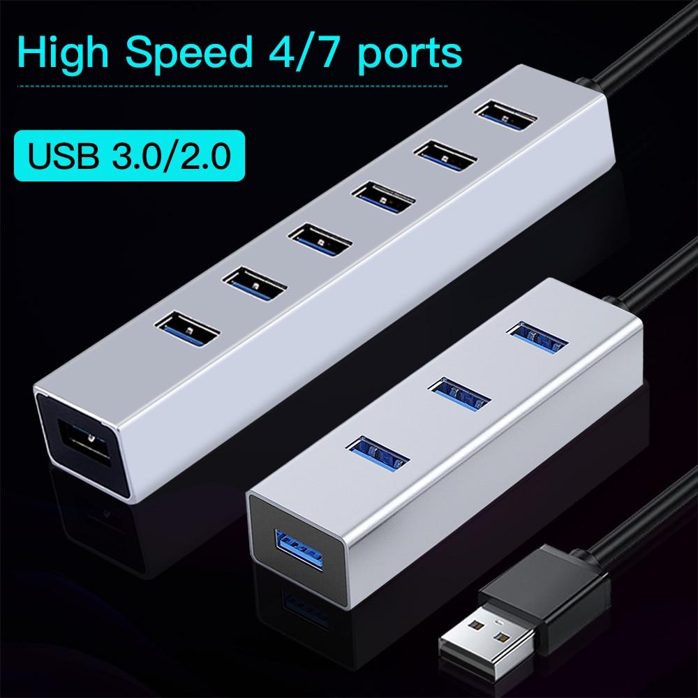 OFCCOM Hub USB Multi 3.0 Hub USB Splitter High Speed 4/7 Port All In One For PC Windows Macbook Computer Accessories
