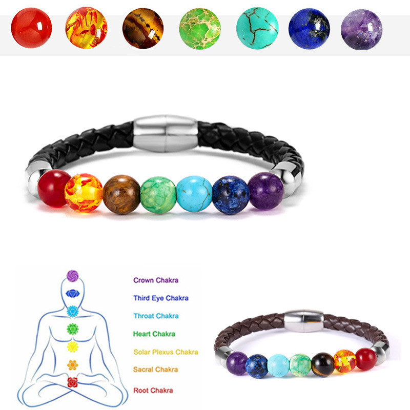7 Chakra Round Beads Natural Stone Charm Leather Bracelet for Women Men Healing Balance Therapy Yoga Jewelry Chakra Prayer