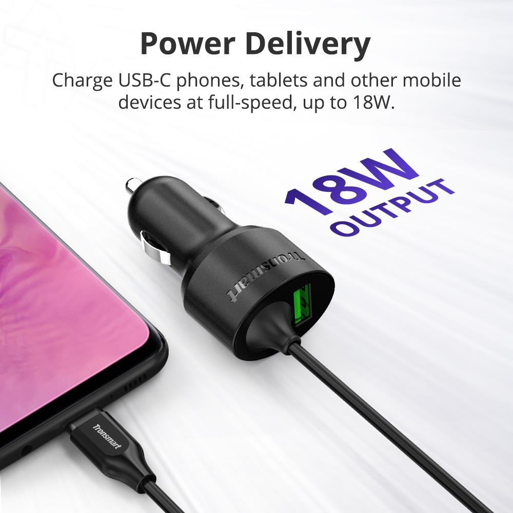 Tronsmart CCTA Car Charger 36W PD Charger Quick Charge with USB C Cable Support PD3.0, QC3.0, FCP, Apple 2.4 for iPhone,Huawei (1)