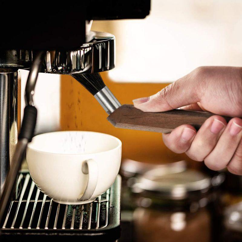 Эспрессо-машина, кофемолка, щетка для очистки порошка, натуральная щетина, грецкий орех, дерево, для бариста, для дома, кухни, зерно, инструмент E65B