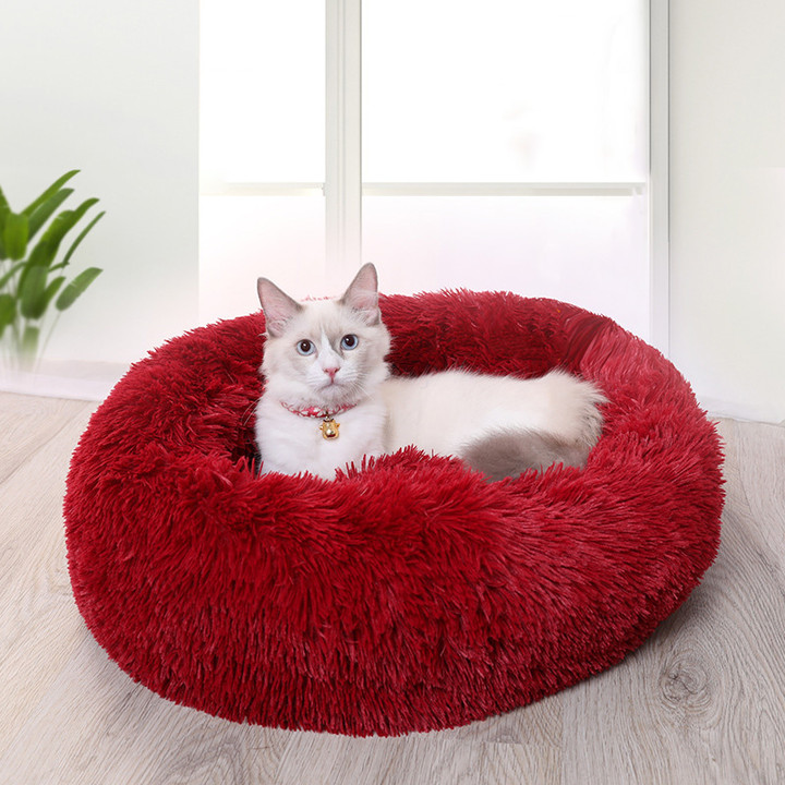 Dog Pet Bed Kennel Round Cat Bed Winter Warm Dog House Sleeping Bag Long Plush Super Soft Pet Bed Puppy Cushion Mat Cat Supplies 3