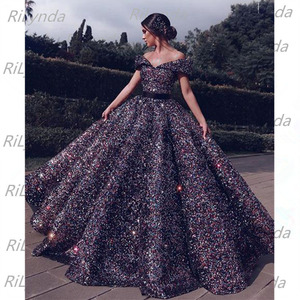 Image 1 - Dubai Green Red Gold Blue Lace Up Sequined Prom Dresses 2020 Sweetheart Sexy Luxury Bridal Gowns