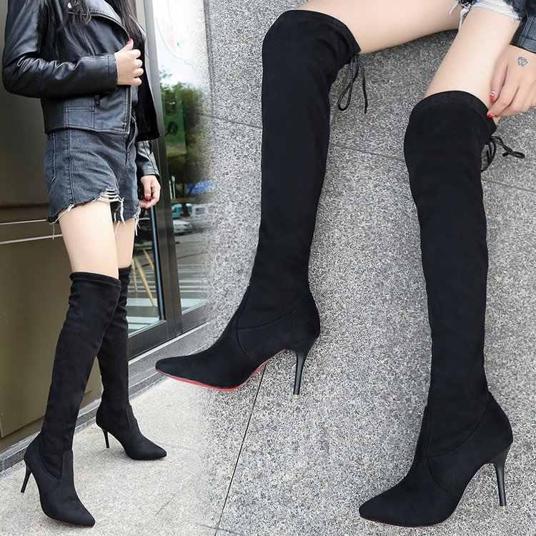 Overknee çizmeler kış kadın ayakkabı diz çizmeler üzerinde kadın patik kadın uzun çizme schoenen vrouw bottines botas para mujer