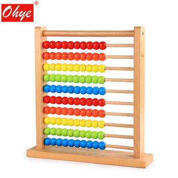 Children's beech solid wood abacus toy baby early education puzzle 10 layer colorful abacus frame arithmetic gift 100 beads