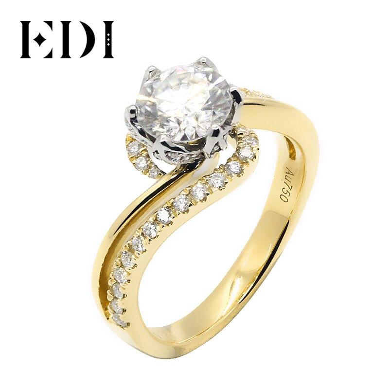 Edi 사용자 정의 보석 아름다움과 야수 로즈 디자인 약혼 반지 14 k 솔리드 옐로우 골드 1ct def moissanite 다이아몬드 악센트-에서반지부터 쥬얼리 및 액세서리 의  그룹 1