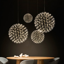 Stainless steel chandelier modern simple attic spark ball led chandelier indoor rest area hall home decoration lamp
