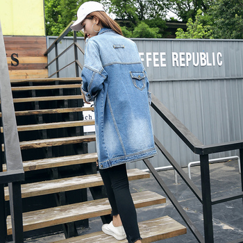 Autumn Spring Women Hole Turn Down Collar Single Breasted Cotton Denim Outerwear Female Loose Casual Fashion Outerwear ZX1025 фото