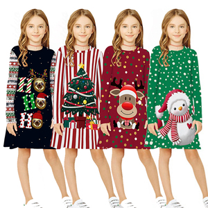Christmas Dress for Girls Kids Dress Christmas Clothes New Year Party Dresses Teen Girl Long Sleeve Santa Print Dress Clothing