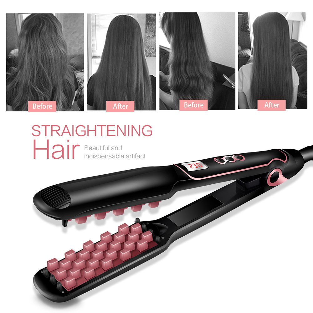 Volumizing Hair Iron Straightener Professional Hair Straightening Fast Ceramic Corrugated Curling Iron Hair Curler Crimping Tool