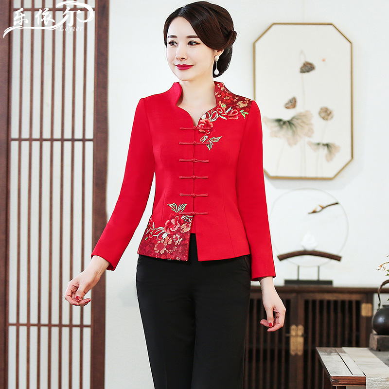 Improved Cheongsam Chinese Costume Woolen Jacket Autumn And Winter New Style Long-sleeved Upper Garment Chinese Style Hi Grandma