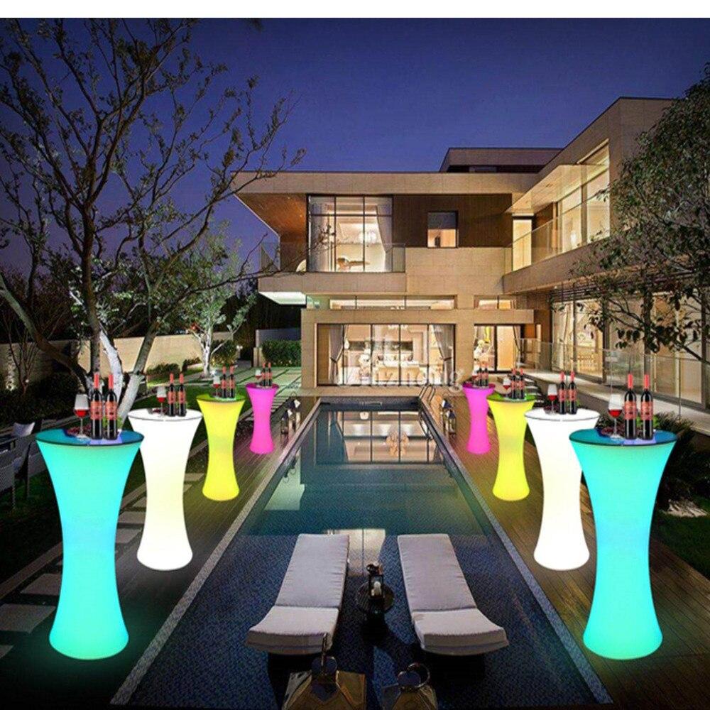 110cm Height LED Lighted Up Cocktail Table Plastic Bar Table Wedding Bar Ktv Disco Supplies Bar Table Set