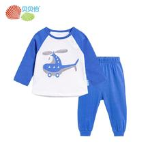 Bornbay baby boy cute cartoon soft comfortable cotton crew neck long sleeve suit T-shirt and trousers two-pieces sets