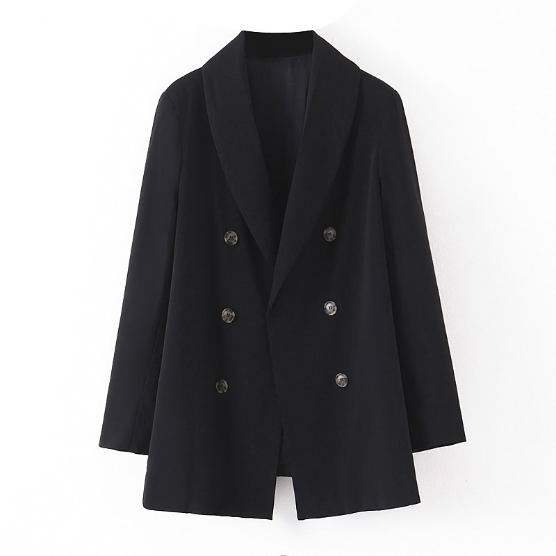 2019 New Autumn Double-Breasted Buttons Blazer Black Boyfriend Friend Style Women Mid Long Suit Coat Back Hem Slit Coat