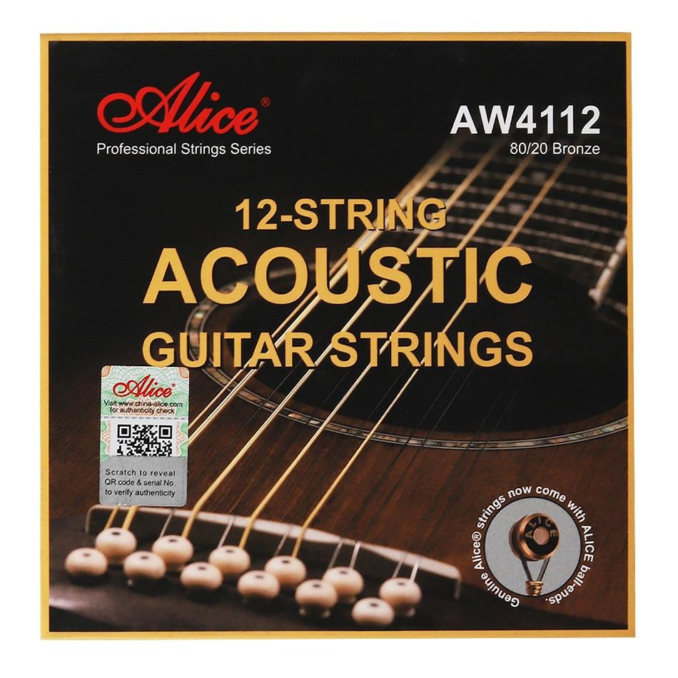 Струны для акустической гитары Alice AW4112 AW4212, 12 струн, с бронзовым антикоррозийным покрытием