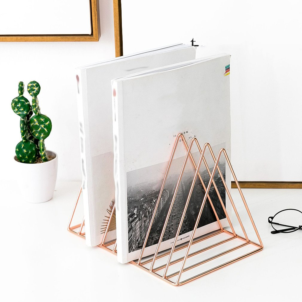 Nordic Style Ornaments Triangle Rose Gold <font><b>Book</b></font> <font><b>Stand</b></font> <font><b>Metal</b></font> Telescopic Folding Bookshelf Magazine Rack image