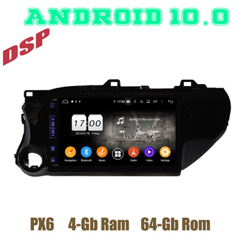 px6 10.1 Android 10. 0 Car GPS radio Player for toyota hilux 2016 2017 2018 2019 with 4+64GB wifi usb head unit tape recorder image