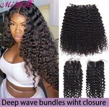Пряди глубоких волн с застежкой, бразильские накладные волосы Mi Lisa, глубокие кудрявые пряди с застежкой для черных женщин
