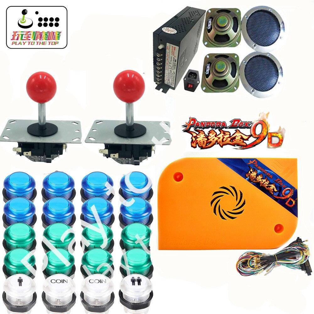 Nouveau kit d'arcade avec boîte Pandora 9d jamma board 2500 en 1 LED boutons joystick bouton alimentation pour bricolage jeu armoire machine