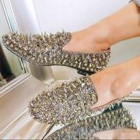 Gold Spiked Men Loafers Shoes Bling Bling Sequins Banque Wedding Dress Shoes Slip On Rivets Studded Men Flat Shoes Size 36 45