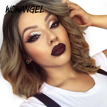 Wavy Ombre Honey Blonde Short Bob Lace Front Wigs For Black Women Lace Front Human Hair Wigs Preplucked Lace Wig 150% Density