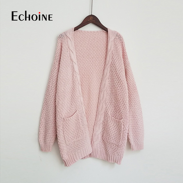 Image 5 - Autumn Winter Fashion Women Long Sleeve Loose Knitting Cardigan Sweater 2019 Pink black Women Knitted Female Cardigan Pull FemmeCardigans   -