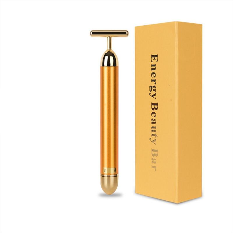 Forever Lina Gold Stick 24K Gold Facial Massager Beauty Bar Electric Beauty Roller T-Shape Facial Part Massage